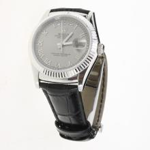 Rolex Day-Date 3156 Automatic Movement Roman Markers with Gray Dial-Leather Strap