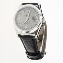 Rolex Day-Date 3156 Automatic Movement Diamond Markers with Gray Dial-Leather Strap