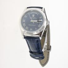 Rolex Day-Date 3156 Automatic Movement Roman Markers with Blue Dial-Leather Strap