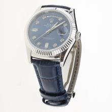 Rolex Day-Date 3156 Automatic Movement Diamond Markers with Blue Dial-Leather Strap