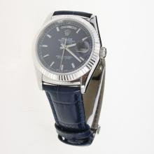 Rolex Day-Date 3156 Automatic Movement Stick Markers with Blue Dial-Leather Strap
