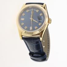 Rolex Day-Date 3156 Automatic Movement Gold Case Diamond Markers with Blue Dial-Leather Strap