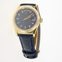 Rolex Day-Date 3156 Automatic Movement Gold Case Stick Markers with Blue Dial-Leather Strap