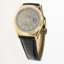 Rolex Day-Date 3156 Automatic Movement Gold Case Roman Markers with Gray Dial-Leather Strap