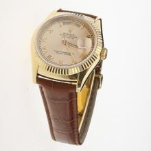 Rolex Day-Date 3156 Automatic Movement Gold Case Roman Markers with Golden Dial-Leather Strap