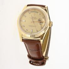 Rolex Day-Date 3156 Automatic Movement Gold Case Diamond Markers with Golden Dial-Leather Strap