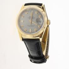 Rolex Day-Date 3156 Automatic Movement Gold Case Diamond Markers with Gray Dial-Leather Strap