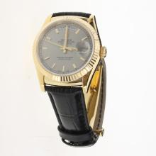 Rolex Day-Date 3156 Automatic Movement Gold Case Stick Markers with Gray Dial-Leather Strap