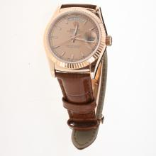 Rolex Day-Date 3156 Automatic Movement Rose Gold Case Stick Markers with Champagne Dial-Leather Strap