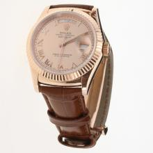 Rolex Day-Date 3156 Automatic Movement Rose Gold Case Roman Markers with Champagne Dial-Leather Strap