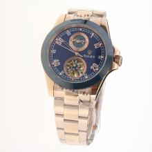 Rolex Automatic Full Rose Gold Ceramic Bezel with Blue Dial-18K Plated Gold Movement