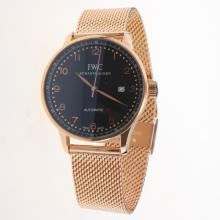 IWC Portuguese Automatic Full Rose Gold with Black Dial-Rose Gold Markers