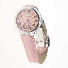 Cartier Ballon bleu de Cartier with Pink Dial-Leather Strap