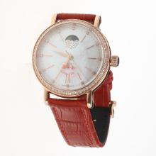 IWC Portofino Moonphase Automatic Rose Gold Case Diamond Bezel with MOP Dial-Red Leather Strap