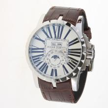Roger Dubuis Excalibur Automatic with White Dial-Leather Strap-1