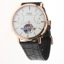 Piaget Altiplano Tourbillon Automatic Rose Gold Case with White Dial-Leather Strap