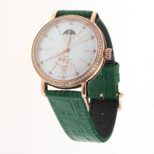 IWC Portofino Moonphase Automatic Rose Gold Case Diamond Bezel with MOP Dial-Green Leather Strap