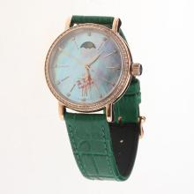 IWC Portofino Moonphase Automatic Rose Gold Case Diamond Bezel with Blue MOP Dial-Green Leather Strap