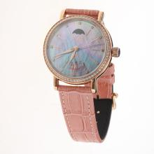 IWC Portofino Moonphase Automatic Rose Gold Case Diamond Bezel with Blue MOP Dial-Pink Leather Strap