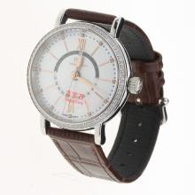 IWC Portofino GMT Automatic Diamond Bezel with MOP Dial-Brown Leather Strap