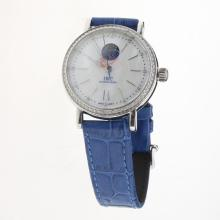 IWC Portofino Moonphase Automatic Diamond Bezel with MOP Dial-Blue Leather Strap