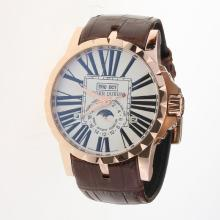 Roger Dubuis Excalibur Automatic Rose Gold Case with White Dial-Leather Strap-1
