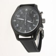 IWC Pilot Chronograph Swiss Valjoux 7750 Movement PVD Case with Black Dial