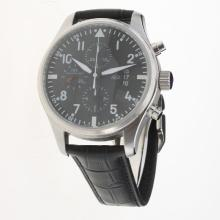 IWC Pilot Chronograph Swiss Valjoux 7750 Movement with Black Dial-Leather Strap-4