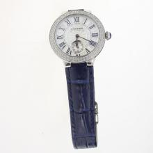 Cartier Ballon bleu de Cartier Diamond Bezel with White Dial-Blue Leather Strap