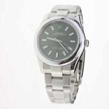 Rolex Oyster Perpetual Automatic Luminous Stick Markers with Green Dial S/S