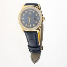 Rolex Day-Date 3156 Automatic Movement Gold Case Diamond Markers & Bezel with Blue Dial-Leather Strap