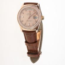 Rolex Day-Date 3156 Automatic Movement Rose Gold Case Diamond Markers & Bezel with Champagne Dial-Leather Strap