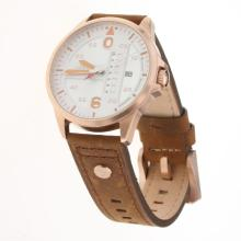 IWC Pilot Rose Gold Case White Dial with Brown Leather Strap