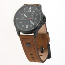 IWC Pilot PVD Case Black Dial with Brown Leather Strap-1