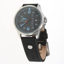 IWC Pilot Blue Markers Black Dial with Black Leather Strap