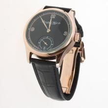 IWC Portuguese Manual Winding Rose Gold Case with Black Dial-Leather Strap-4