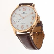IWC Portuguese Manual Winding Rose Gold Case with White Dial-Leather Strap-2