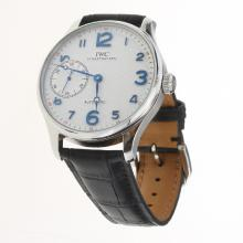 IWC Portuguese Manual Winding with White Dial-Leather Strap-1