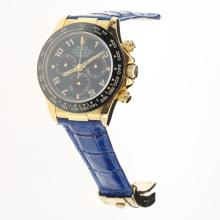 Rolex Daytona Chronograph Swiss Valjoux 7750 Movement Gold Case Ceramic Bezel Number Markers with Blue Dial-Leather Strap