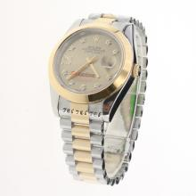 Rolex Datejust II Automatic Two Tone Diamond Markers with Golden Dial