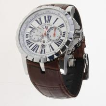 Roger Dubuis Excalibur Automatic with White Dial-Leather Strap