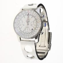 Breitling Navitimer Chronograph Swiss Valjoux 7750 Movement Stick Markers with White Dial S/S-2