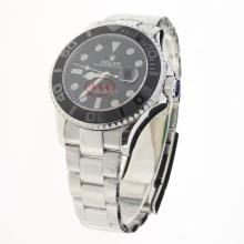 Rolex Yachtmaster Automatic Ceramic Bezel with Black Dial S/S-Super Luminous
