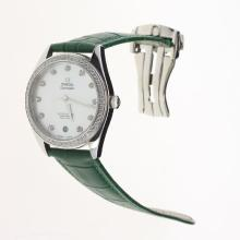 Omega Seamaster Swiss ETA 8500 Movement Diamond Bezel with MOP Dial-Green Leather Strap