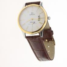 Omega De Ville Co-Axial Two Tone Case Roman Markers with White Dial-Leather Strap-1