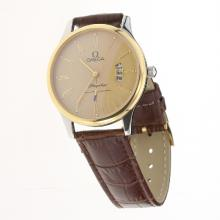 Omega De Ville Co-Axial Two Tone Case Roman Markers with Golden Dial-Leather Strap