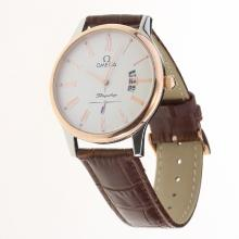 Omega De Ville Co-Axial Two Tone Case Roman Markers with White Dial-Leather Strap
