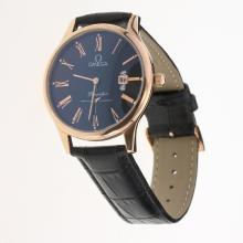 Omega De Ville Co-Axial Rose Gold Case Roman Markers with Black Dial-Leather Strap