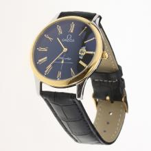 Omega De Ville Co-Axial Two Tone Case Roman Markers with Black Dial-Leather Strap-1