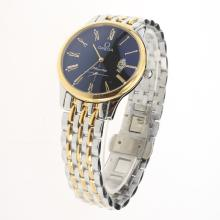 Omega De Ville Co-Axial Two Tone Roman Markers with Black Dial-1